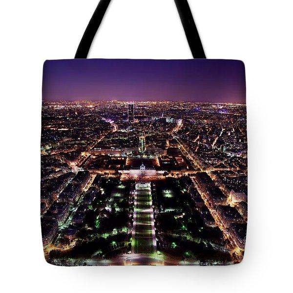 Paris Panorama France At Night Tote Bag by Michal Bednarek