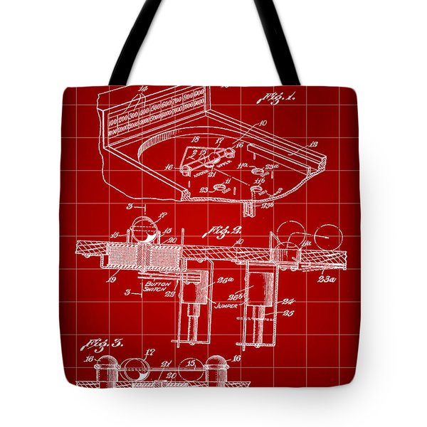 Pinball Machine Patent 1939 - Red Tote Bag by Stephen Younts