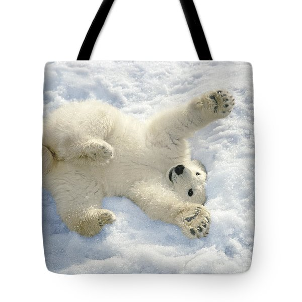 Polar Bear Cub Playing In Snow Alaska Tote Bag