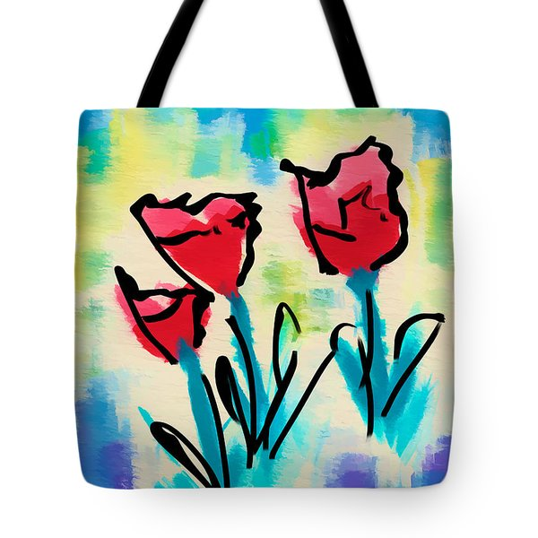 Tote Bag featuring the digital art 3 Poppies by Frank Bright