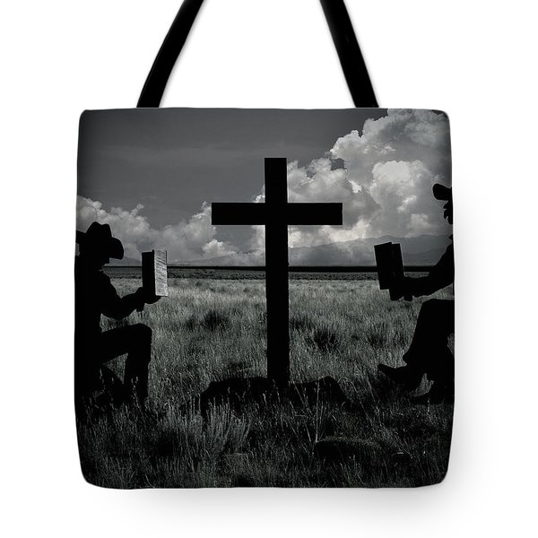 Praying Cowboys Tote Bag by Christine Till