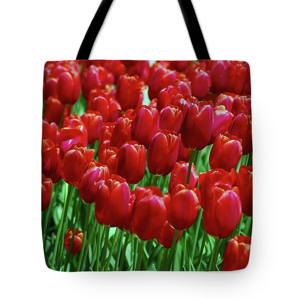 Tote Bag featuring the photograph Red Tulips  by Allen Beatty
