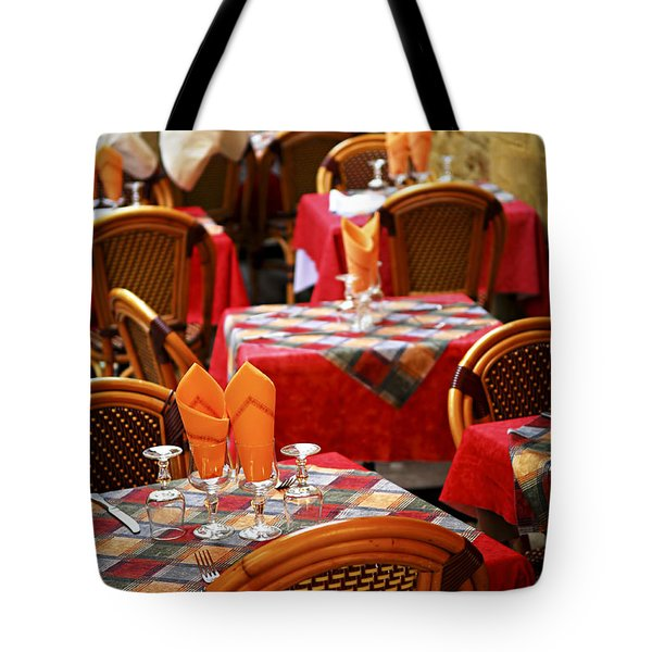 Restaurant Patio In France Tote Bag by Elena Elisseeva