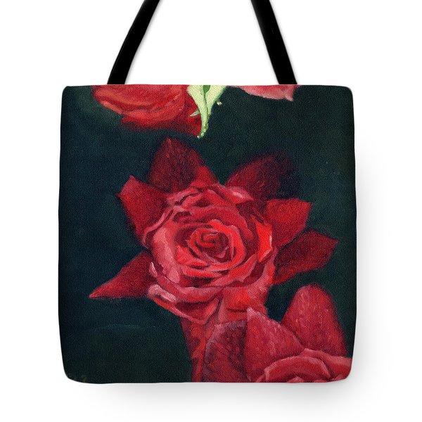 3 Roses Red Tote Bag by Katherine Miller