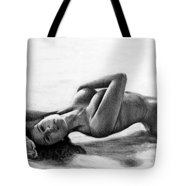 Tote Bag featuring the drawing Sandra  by Joseph Ogle