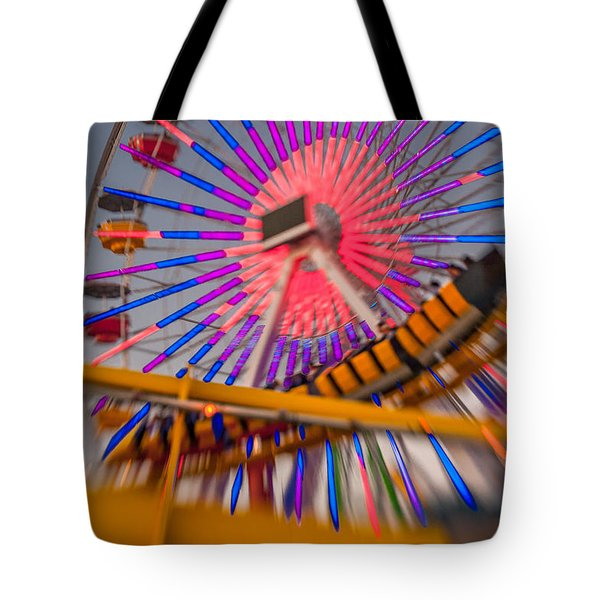 Santa Monica Pier Ferris Wheel And Roller Coaster At Dusk Tote Bag