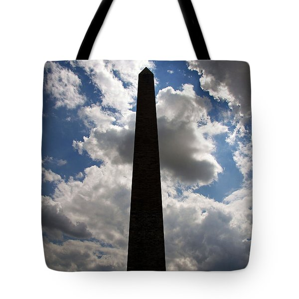 Tote Bag featuring the photograph Silhouette Of The Washington Monument by Cora Wandel