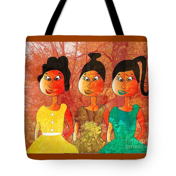 Tote Bag featuring the drawing Sisters by Iris Gelbart