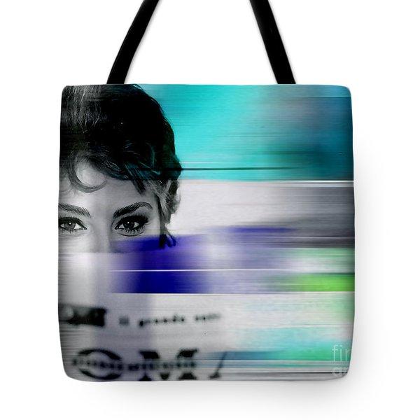 Sophia Loren Tote Bag by Marvin Blaine