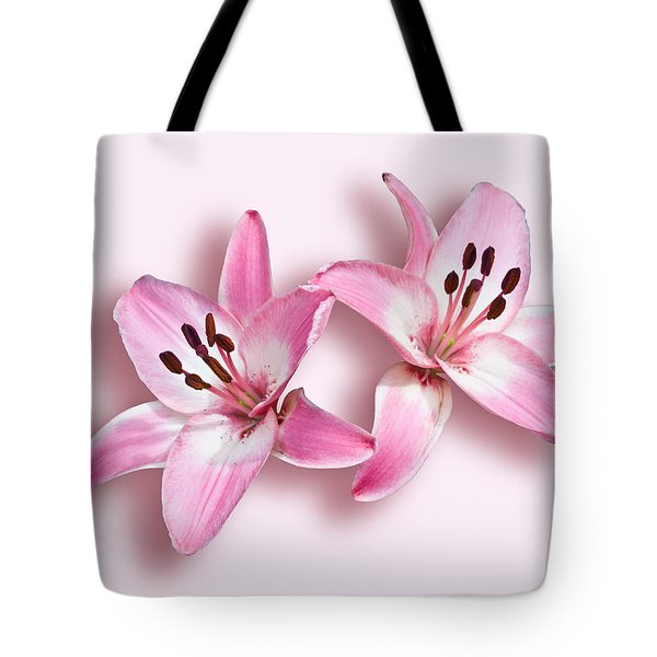 Spray Of Pink Lilies Tote Bag by Jane McIlroy