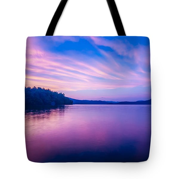 Sunset During Blue Hour At The Lake Tote Bag