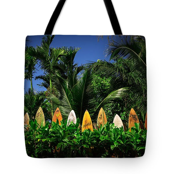 Surf Board Fence Maui Hawaii Tote Bag