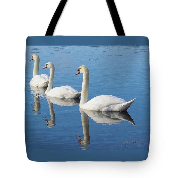 3 Swans A-swimming Tote Bag