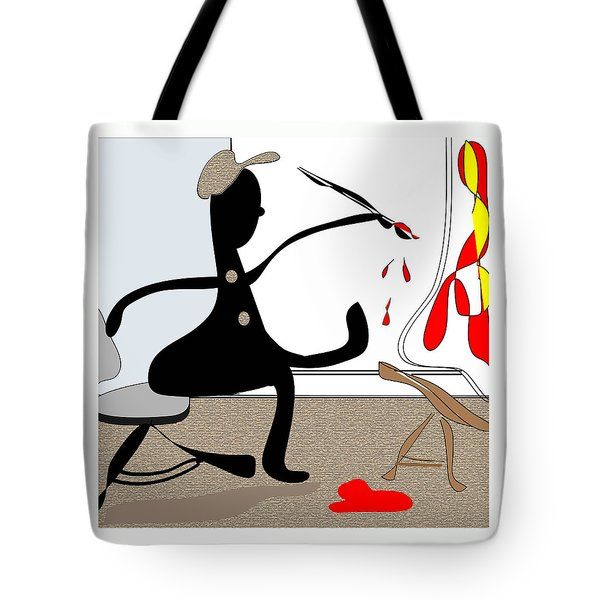Tote Bag featuring the digital art The Artist by Iris Gelbart