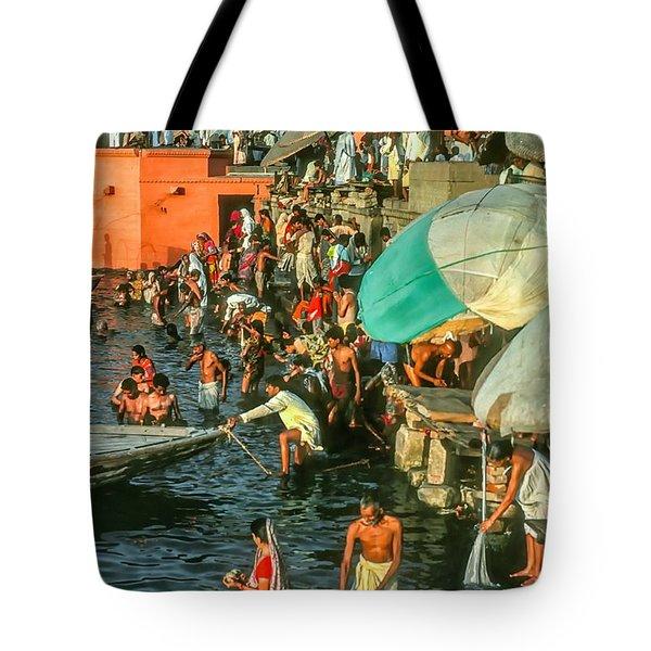 The Bathing Ghats Tote Bag by Steve Harrington