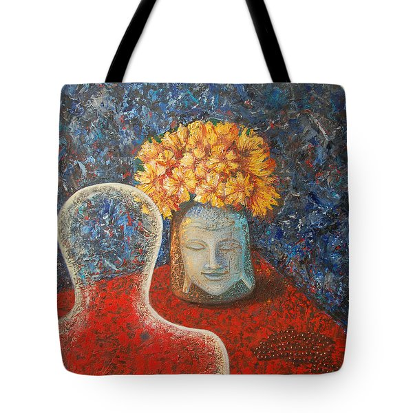Tibetan Prayers Tote Bag by Mini Arora