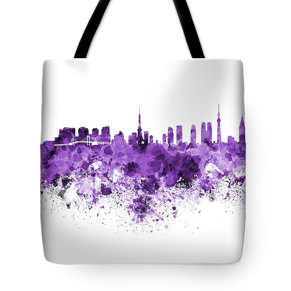 Tokyo Skyline In Watercolor On White Background Tote Bag