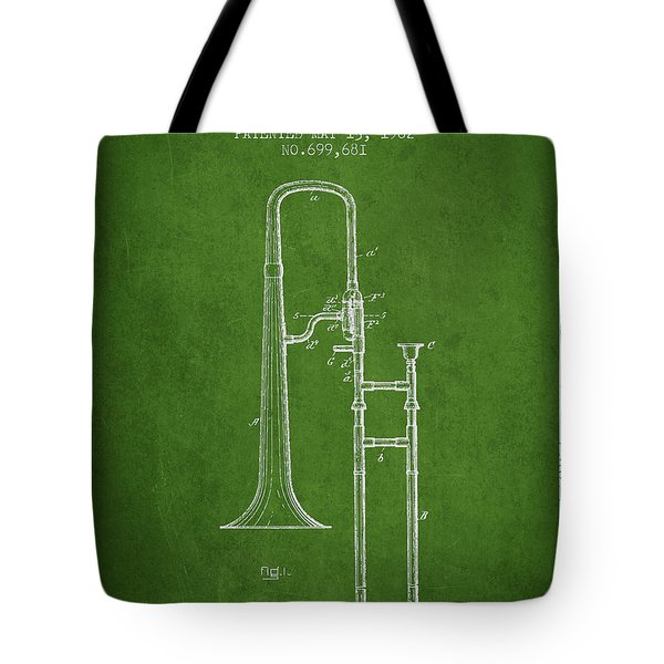 Trombone Patent From 1902 - Green Tote Bag by Aged Pixel