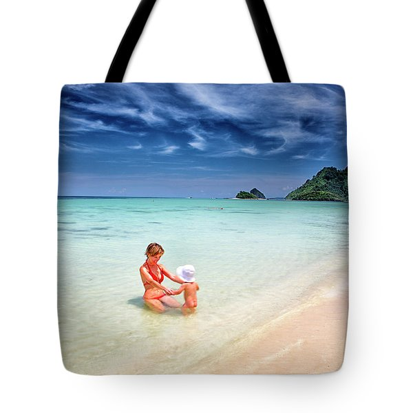 Turquoise Waters And White Sand In Ko Tote Bag