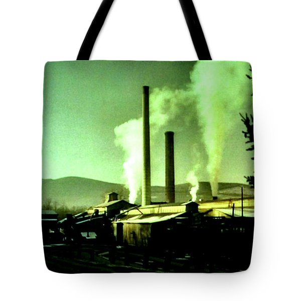 Tote Bag featuring the painting Twin Peaks by Luis Ludzska