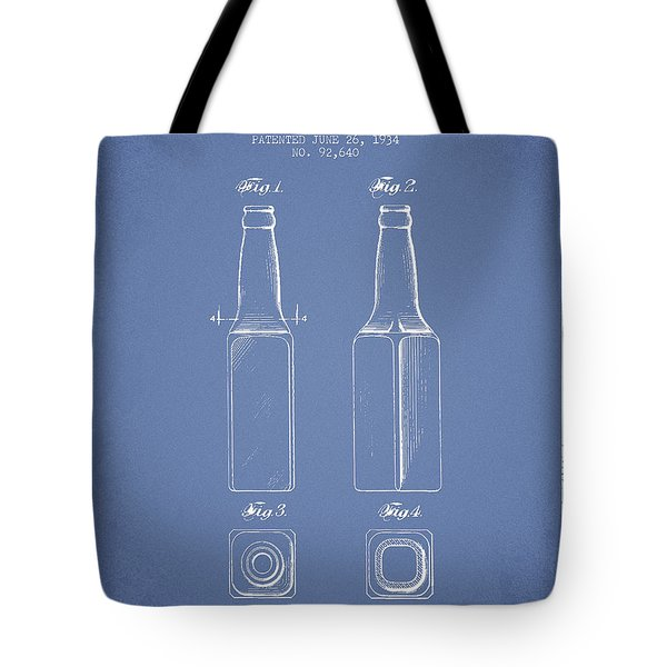 Vintage Beer Bottle Patent Drawing From 1934 - Light Blue Tote Bag