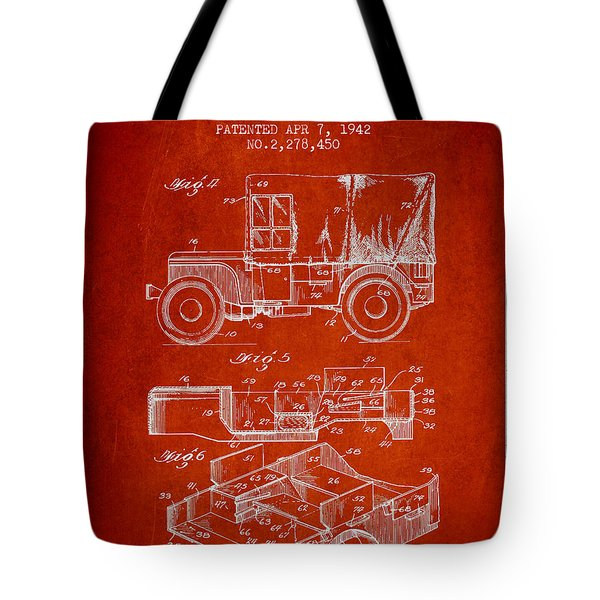 Vintage Military Vehicle Patent From 1942 Tote Bag
