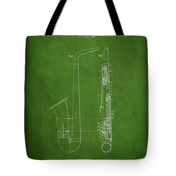 Saxophone Patent Drawing From 1899 - Green Tote Bag by Aged Pixel
