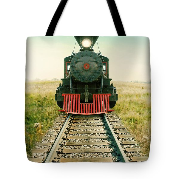 Vintage Train Engine Tote Bag by Jill Battaglia