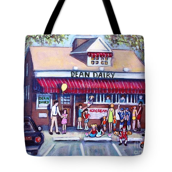 Tote Bag featuring the painting We All Scream For Ice Cream by Rita Brown