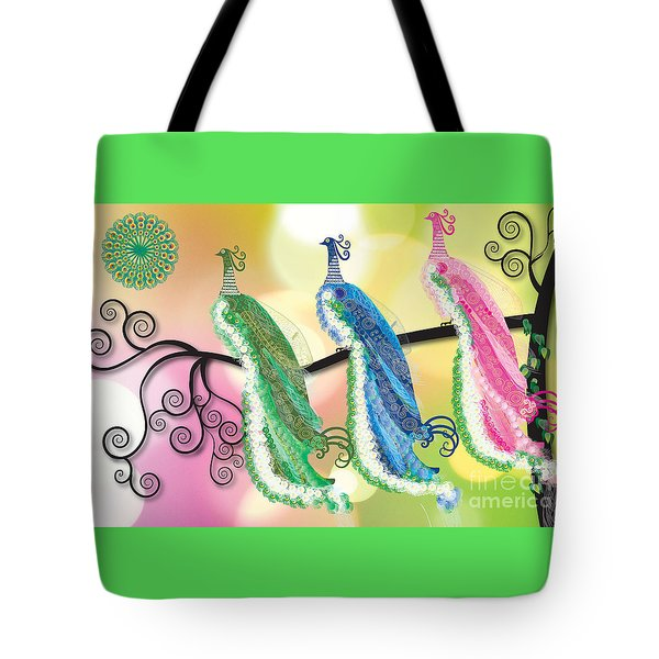 Visionary Peacocks Tote Bag by Kim Prowse