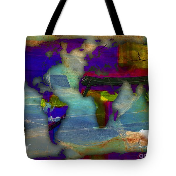 World Map And Compass Watercolor Tote Bag by Marvin Blaine