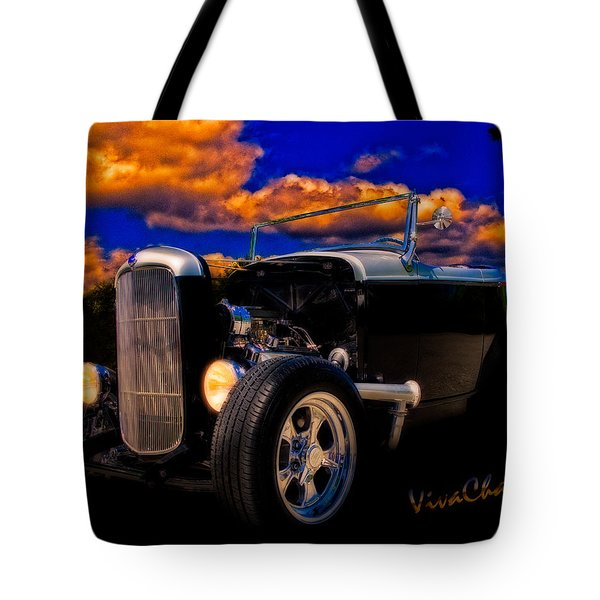 32 Ford Roadster In Silver An Black Tote Bag