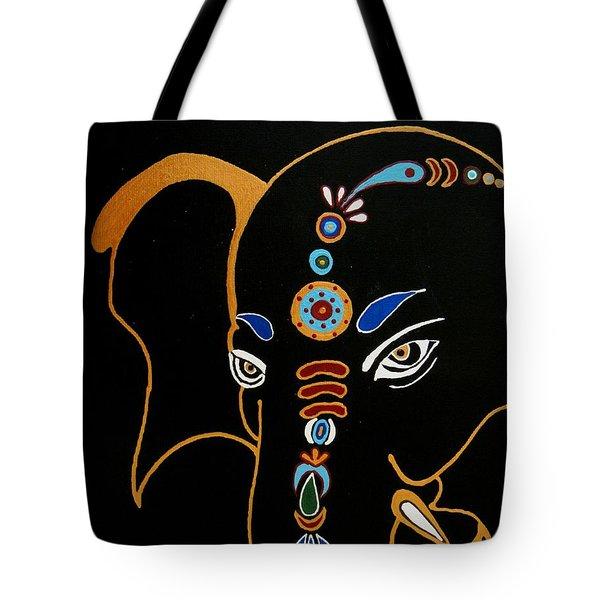 32 Gajakarna Ganesh Tote Bag by Kruti Shah