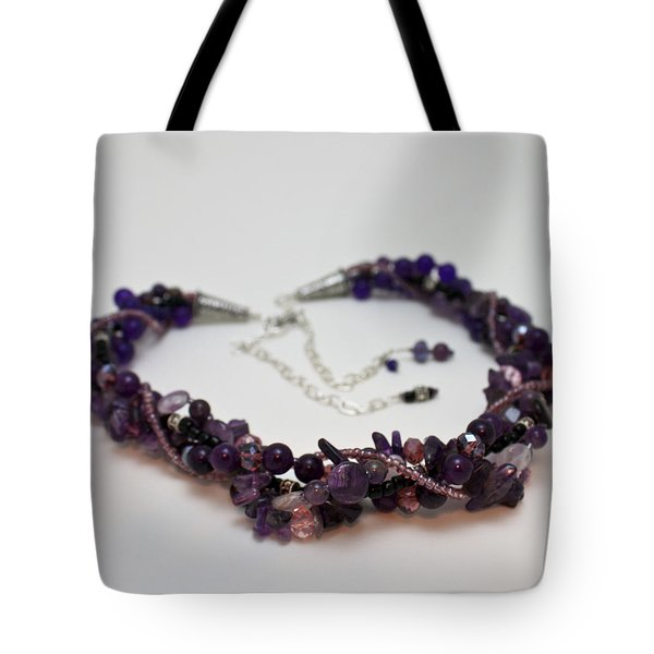 3607 Multi Strand Adjustable Amethyst Necklace Tote Bag by Teresa Mucha