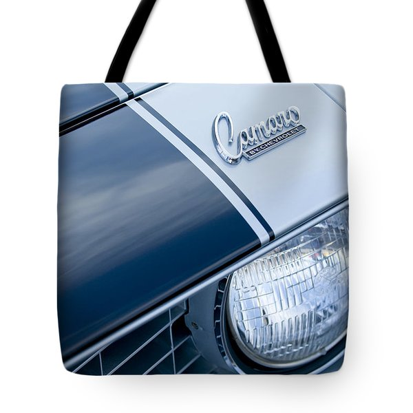 Tote Bag featuring the photograph 1969 Chevrolet Camaro Z-28 Emblem by Jill Reger