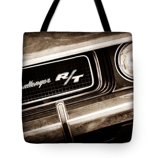 1970 Dodge Challenger Rt Convertible Grille Emblem Tote Bag by Jill Reger