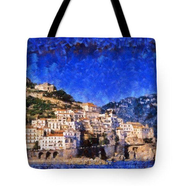 Amalfi Town In Italy Tote Bag by George Atsametakis
