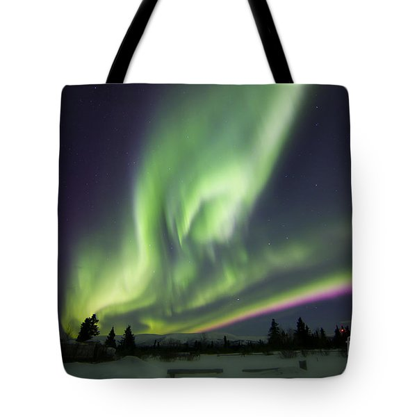 Aurora Borealis Over A Ranch Tote Bag by Joseph Bradley