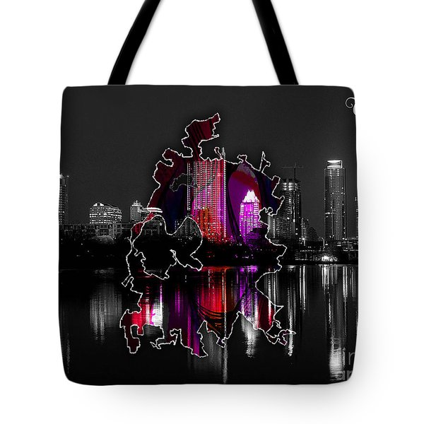 Austin Map And Skyline Watercolor Tote Bag