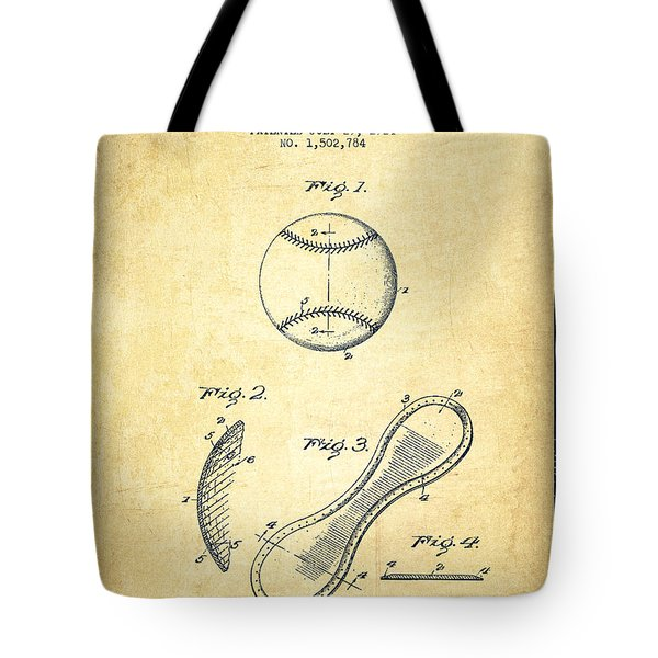 Baseball Cover Patent Drawing From 1924 Tote Bag by Aged Pixel