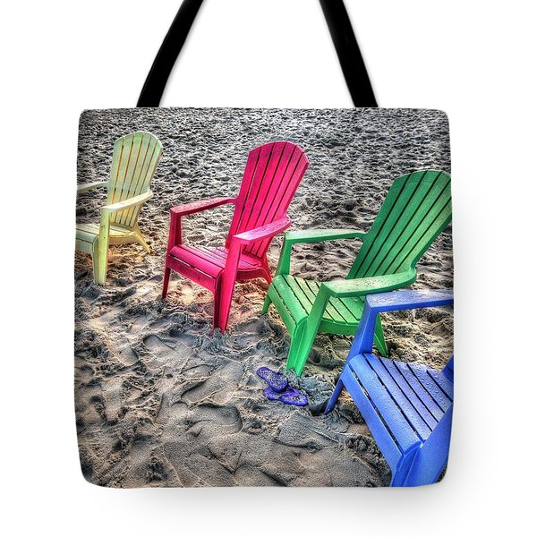 Tote Bag featuring the digital art 4 Beach Chairs by Michael Thomas