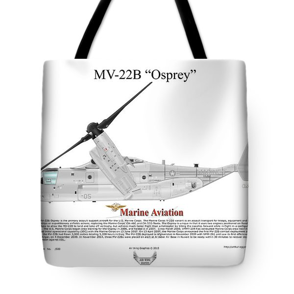 Tote Bag featuring the digital art Bell Boeing Mv-22b Osprey by Arthur Eggers