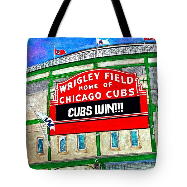 Blue Skies Over Wrigley Tote Bag by Janet Immordino