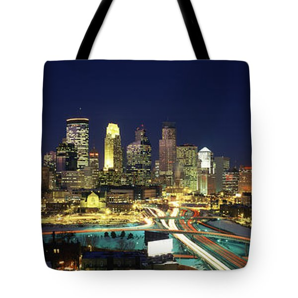Buildings Lit Up At Night In A City Tote Bag