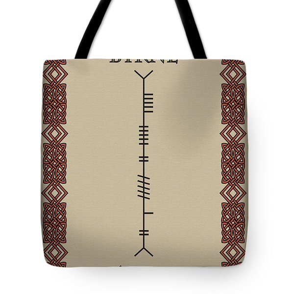 Tote Bag featuring the digital art Byrne Written In Ogham by Ireland Calling