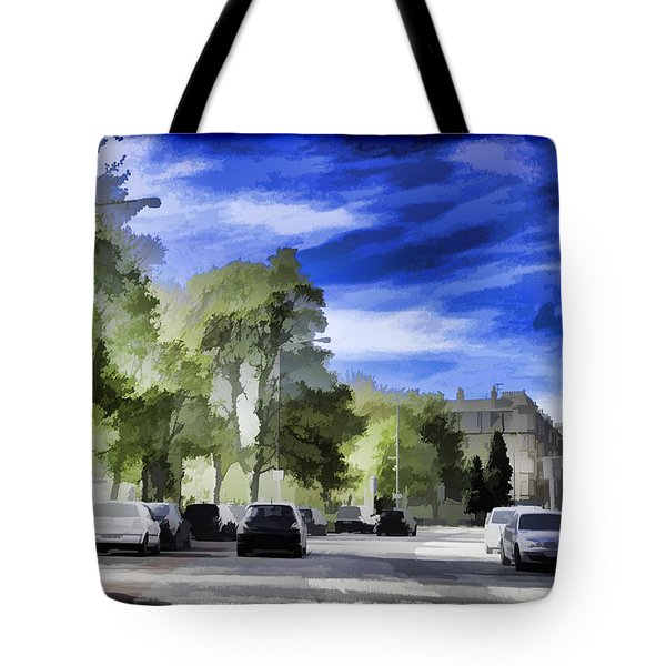 Cars On A Street In Edinburgh Tote Bag
