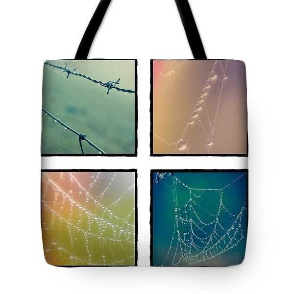 4 Color Web Droplets Tote Bag by Beverly Stapleton