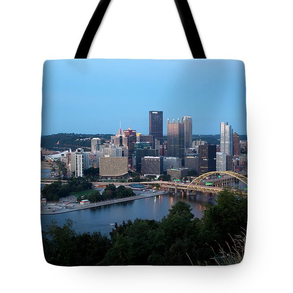 Downtown Skyline Of Pittsburgh Pennsylvania Tote Bag by Bill Cobb