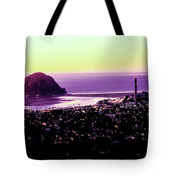 Elevated View Of City At Waterfront Tote Bag
