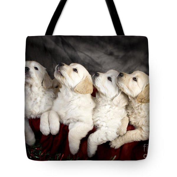Festive Puppies Tote Bag by Angel  Tarantella